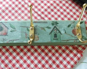 bird box decoupaged coat hooks rack ,