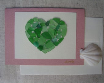 """Seaglass cards-Genuine seaglass-Seaglass art-Hand made greeting cards-greeting card with heart-Card OOAK """"Love""""-blanc inside"""