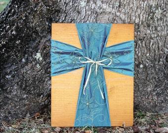 Cross/Fabric Cross/Fabric Wall Cross/Wall Cross/Decorative Cross/Wood Cross/Rustic Cross/Rustic Wood Cross