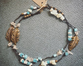 Howlite, Beach, Glass, Shell, Beads, Feather, Knotted, Necklace, Festival, Wanderlust, Yoga, Surf, Bracelet, Bronze, Vintage, Witch, Healer