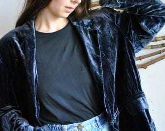 Dark blue velvet jacket 1990s 1980s vintage velur womens coat