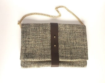NEW! In Lainé fabric and brown leather handbag