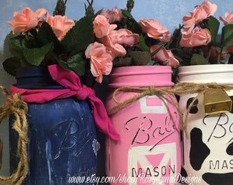 Cowgirl birthday party mason jar set, party centerpiece, birthday decor, home decor, mason jar vase