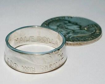 Silver Benjamin Franklin Coin Ring