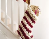 Chunky Knit Striped Christmas Stocking  Red and White Candystriped hand knitted christmas stocking  Scandinavian Christmas decoration