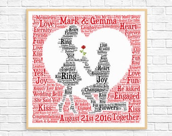 PERSONALIZED ENGAGEMENT GIFT ~ Man Proposing ~ Word Art ~ Art Print ~ Printable Art ~ Unique Engagement Gift For Couple ~ Engagement Card