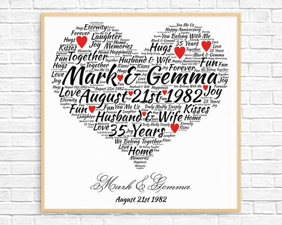 35th Wedding Anniversary Gifts For Her: Personalized 35th ANNIVERSARY GIFT Coral Anniversary 35