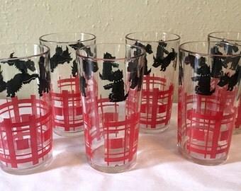 Set of 6 Vintage Scottie Tumblers