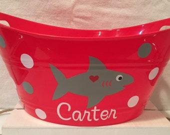 Boy's Valentine Tub, Shark Tub, Personalized Valentine's Tub, Personalized Bucket, Gift Tub, Birthday Gift