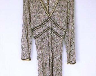 MISSONI 70's-80's vintage Croche zigzag knit tunic dress