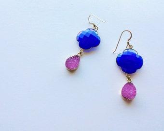 Chalcedony and Druzy Earrings