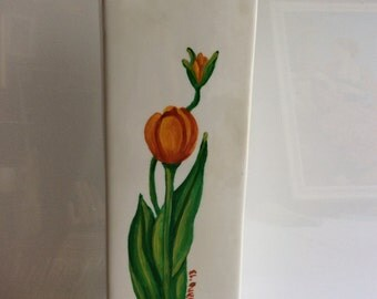 Vase flower -20% discount to do, with handpainted Tulips