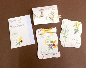 COMMUNION INVITATIONS from 1.50 handmade, customized internal writing by hand