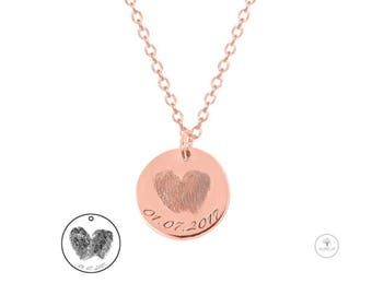 Gold 925 silver necklace with fingerprint engraving