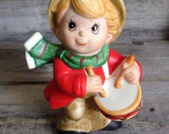 Vintage Homco #5564 Christmas figure, child playing drum.