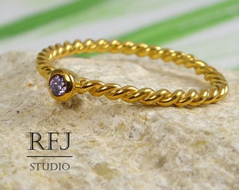 24K Gold Plated Rope Lab Amethyst Ring, February Birthstone Purple 2 mm CZ 2 Twisted Yellow Gold Plated Ring, Amethyst Braided Golden Ring