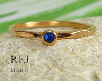 Rose Gold Faceted Sapphire Ring, 2 mm Blue Corund Lab Sapphire 14K Rose Gold Plated Ring, September Birthstone Rose Gold Plated Stacker Ring