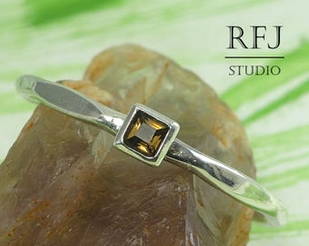 Square Natural Smokey Quartz Faceted Silver Ring, Princess Cut 2x2 mm Smoky Quartz Ring Square Setting Promise Stacking Ring Awesome Gift