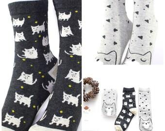 Cute Women's/Girl's Sleepy Cat Animal Pattern Cotton Socks (2 Pairs)