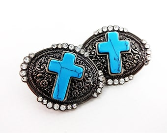 """Turquoise Cross Bling Single Post Arts & Crafts Bridle Repair Concho Two 1-1/2"""""""