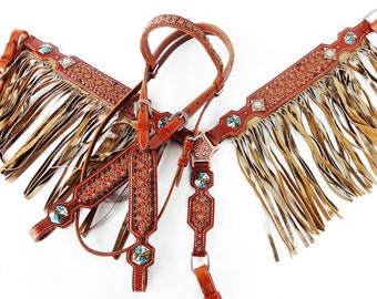 Western  Golden Lace Horse Headstall Leather Bridle Fringe Trail Breast Collar Tack Set Mosaic Glass Crystals