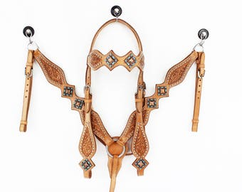 Western Barrel Trail Horse Natural Oil Finish Leather Western Horse Bridle Headstall Breast Collar Tack Set Made To Order