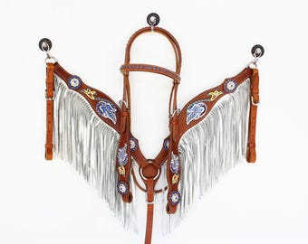 Silver Fringe Leather Headstall Western Horse Bridle Breast Collar Plate Bling Tack Show Barrel Racer Set