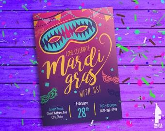 Mardi Gras Printable Invitation - Mardi Gras Parade Birthday Invitation -Mardi Gras Card - Mardi Gras Party Invitation -Digital File