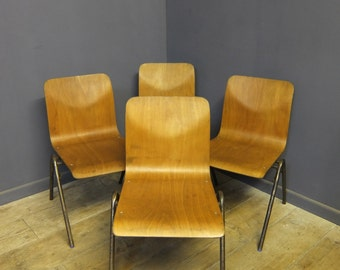 Vintage Steelux Stacking Chairs, Industrial, Cafe