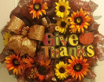 Give Thanks Fall Wreath (#0148)