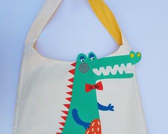 Crocodile Print fabric tote bag for children
