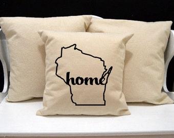 Wisconsin Home Pillow, Wisconsin Pillow, home pillow, pillow gift, Wisconsin gift, Envelope Pillow Cover, state pillow, WI pillow, 20x20
