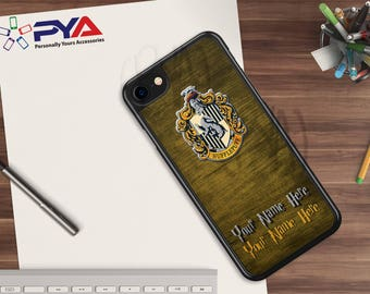 Harry Potter Phone Case - Personalized with a Name Hufflepuff Woodgrain House for Apple iPhone & iTouch Devices Harry Potter iPhone Case