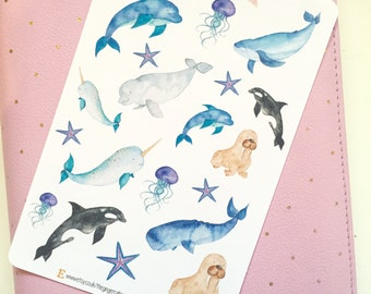 Watercolour Whale Stickers | Planner Stickers, Journal Stickers, Scrapbook, Bullet Journal