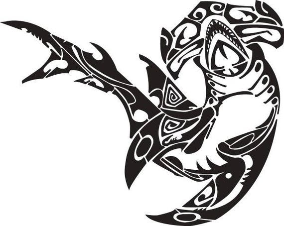 shark 2 hammerhead polynesian tribal tattoo design svg eps png instant digital clipart. Black Bedroom Furniture Sets. Home Design Ideas