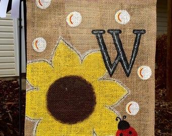 Sunflower Burlap Garden Flag/Ladybug/Monogram Letter