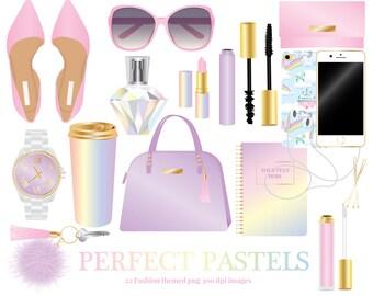 Pastel Fashion Accessories Clipart, shoes, sunglasses, purse, watch, lipstick, mascara, perfume, phone