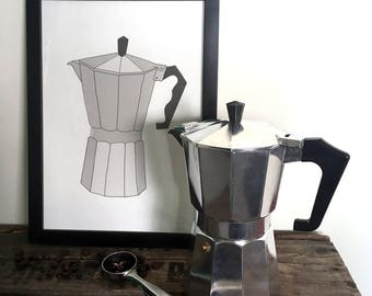 Percolator / Coffee maker illustration - A4 print