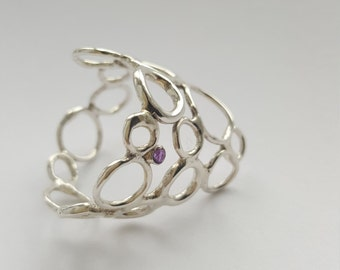 Gift for her. Unique silver circles ring with 2mm amethyst