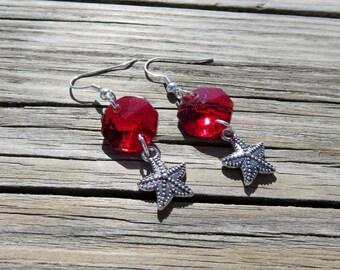 Vintage Red Crystal Prism Earrings // Red Crystal and Silver Starfish Dangle Earrings // Starfish Earrings