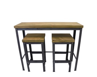 Breakfast Bar and Two Stools (Oak/Steel)
