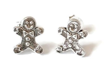 Sterling Silver Stud Earrings/Gingerbread man Earrings/Highly polished/Gifts/wedding/bridesmaid