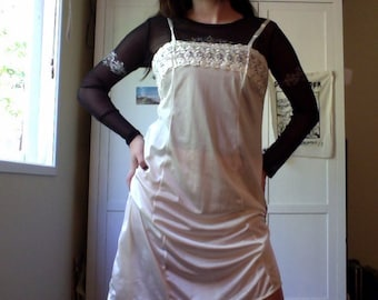 cream white silk slip dress -size 14