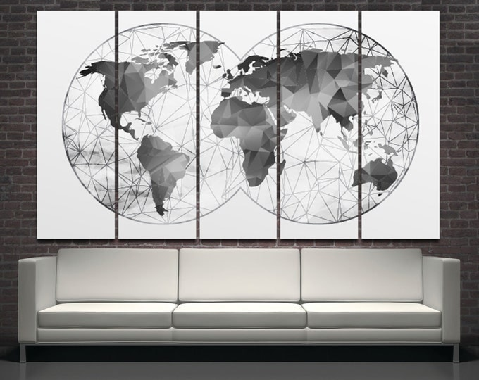 Double Hemisphere Black-White Abstract World Map Canvas Set, Wall Art Print 3 or 5 Panels gray world map Canvas Wall Art for Home Decoration