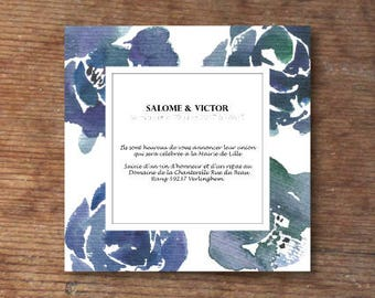 Blue flowers wedding invitations
