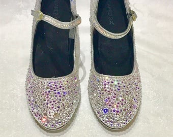 Custom Crystallised Strassed Dance Tap Shoes - Crystals Rhinestones Diamante - Any Colour - Strassing Service