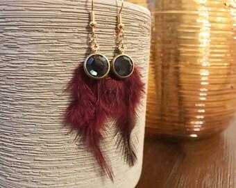 Burgundy feather earrings montana blue earrings