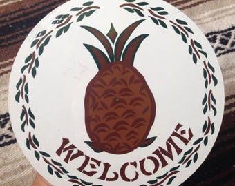 Pineapple Welcome Sign / ZOOK Hex Sign / Pennsylvania dutch novelties / Pineapple Folk Art / Floral garden / Hawaii Pineapple Circle Sign