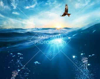 Buy 3 get one free. Underwater Digital Backdrop / Background with Jellyfish, High Resolution, Instant Download.