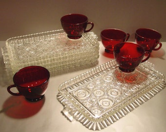 Anchor Hocking Snack Set for (5) Bubble Crystal Trays Ruby Cups, Party, Snack Trays, Snack Cups, Luncheon